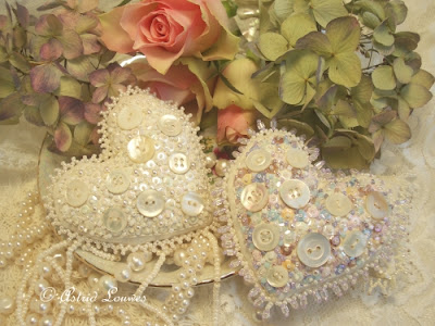 romantic hearts with beads