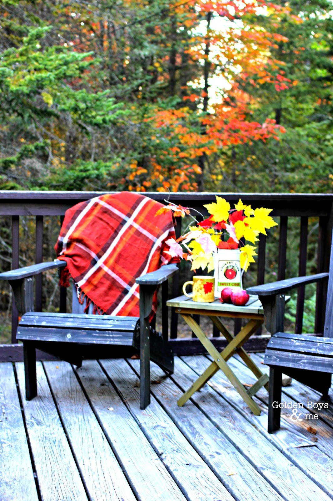 Fall porch decor ideas with adirondack chairs-www.goldenboysandme.com