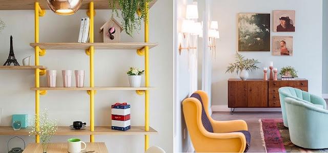combinação de cores em tríade na decoração: tríade de amarelo, azul e vermelho (a esquerda) e laranja, azul e violeta (a direita)