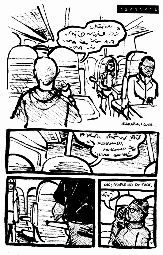 comic about a passenger on a train speaking arabic and watching two people moving away when he says the name muhammed