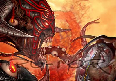 Ilustración de personaje (héroe desatado) hecha por ªRU-MOR para el juego de Cartas y fantasía  Épica. Edades Oscuras. El personaje es Ágamon en su forma desatada, un demonio alado que ha abierto las puertas del averno para que las hordas de demonios entren en este mundo.