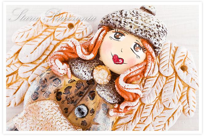 figurka z masy solnej, salt dough, zimowe aniołki z masy solnej