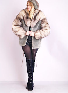 Vintage grey beaver and brown fox fur fluffy coat.