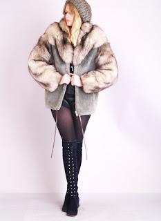 Vintage grey beaver and brown fox fur fluffy coat.