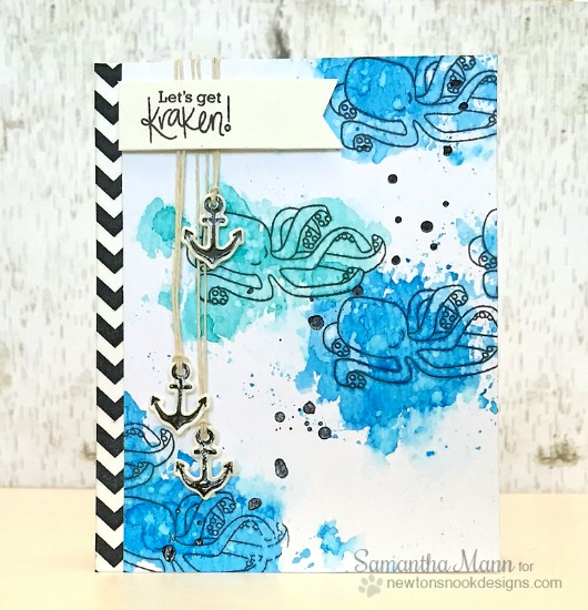 Kraken Nautical card by Samantha Mann| Message in a Bottle Stamp set by Newton's Nook Designs