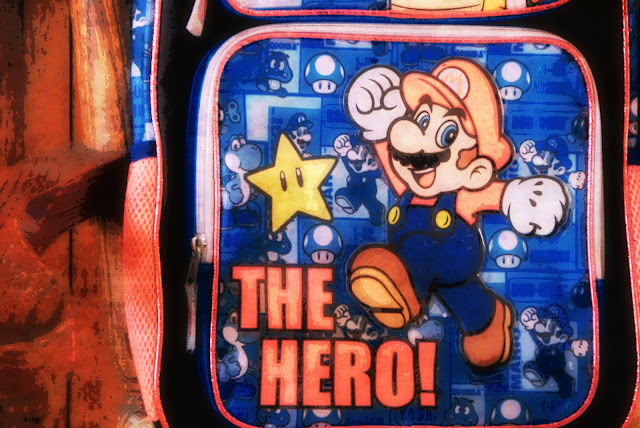 photo edit of grandson's school backpack