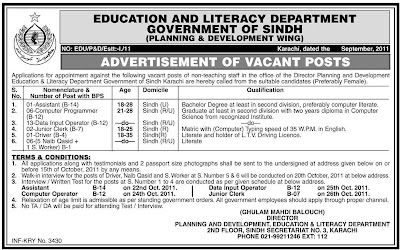Jobs in Education & Literacy Department Government of ...