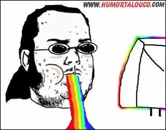 Meme Gordo Granudo - Vomitando arco iris - WWW.HUMORTALOUCO.COM