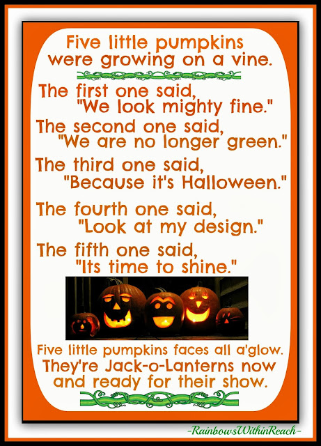 Five Little Pumpkins Adapted Poem from Debbie Clement at RainbowsWithinReach