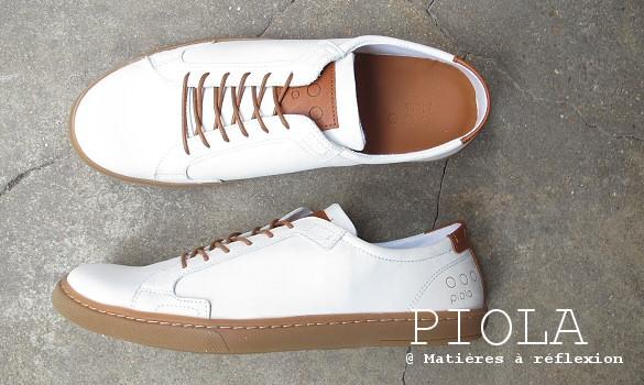 Sneakers homme blanc en nubuk et cuir Piola