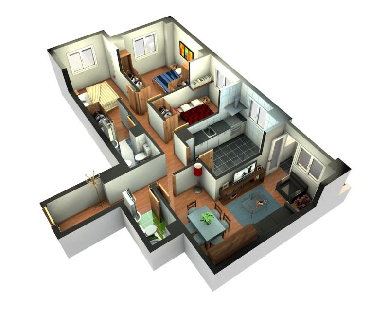 Denah Rumah Minimalis 1 Lantai 2 Kamar Tidur Asyik Blogger Reog