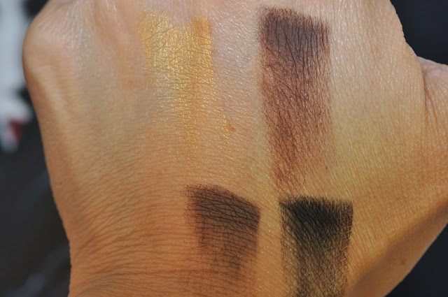 MAC Maleficent eye shadow quad: Goldmine, Ground brown Concrete, Carbon