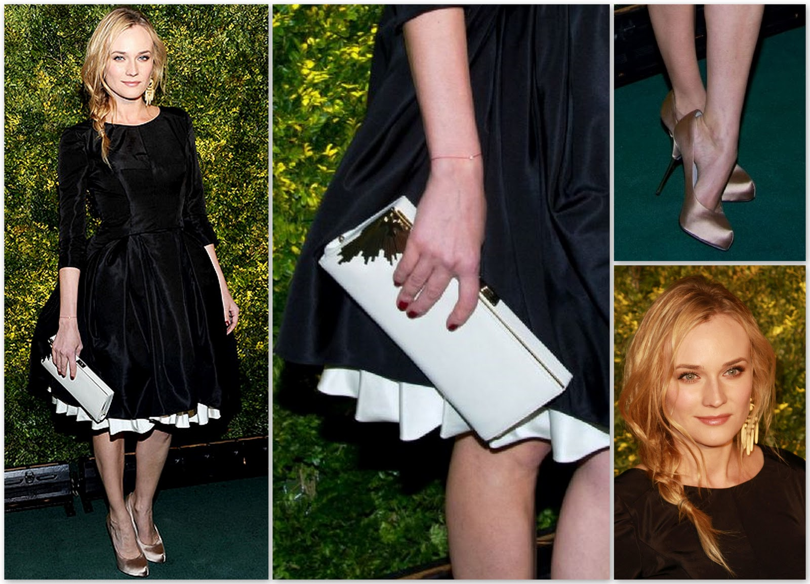 ... Ms. Kruger's choice of accessories, a white clutch and nude satin pumps, ...