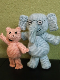 Piggie and Gerald Crocheted Dolls