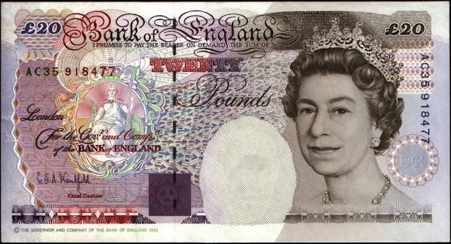 British Bank Notes 20 Pound Sterling note 1993 Queen Elizabeth II