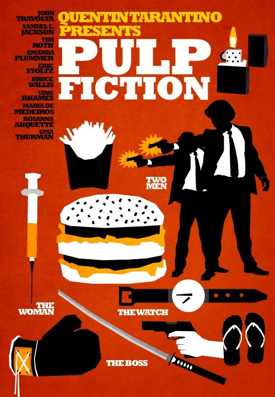 Filmes de Quentin Tarantino - posters de cinema minimalistas - Pulp Fiction