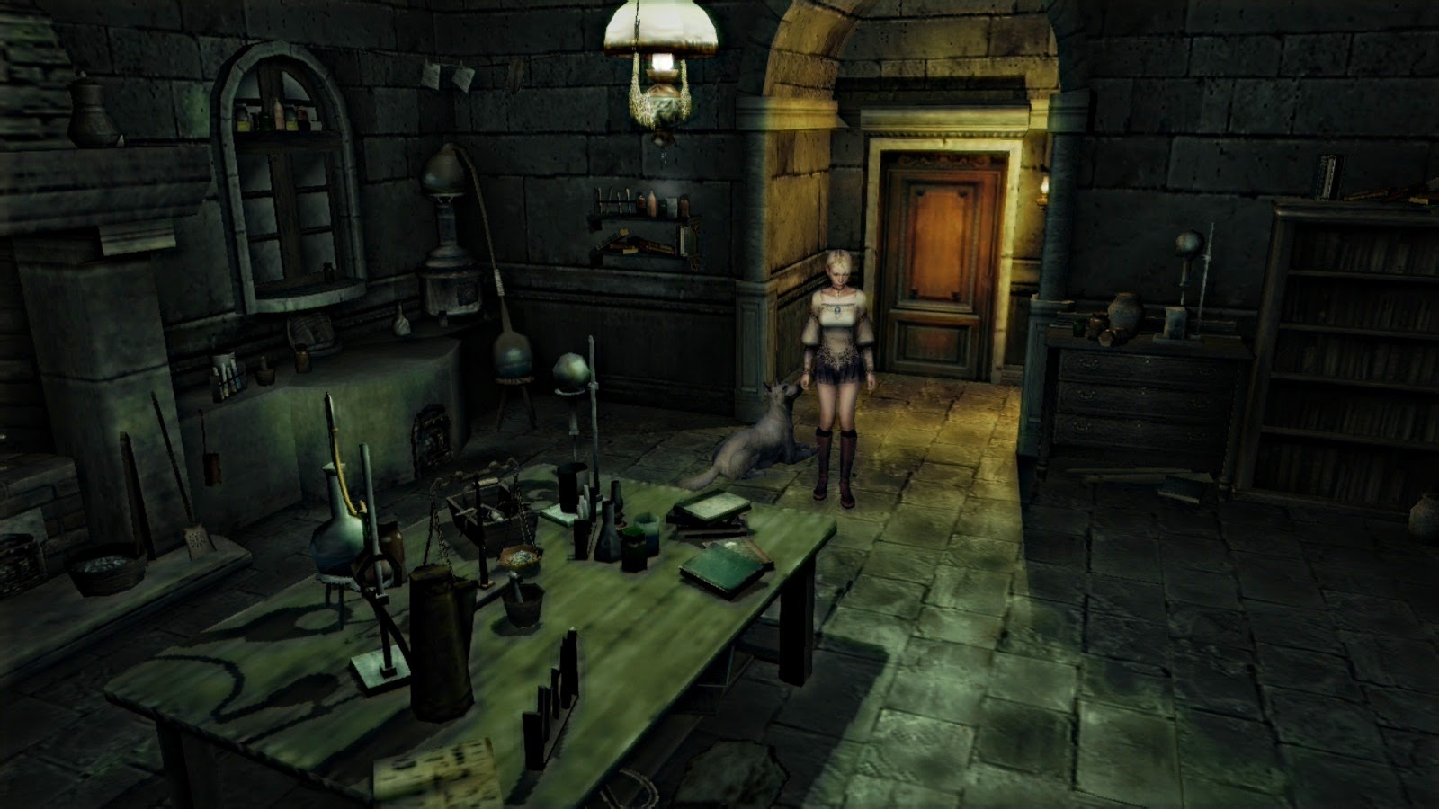 Haunting ground Fiona in room with fireplace