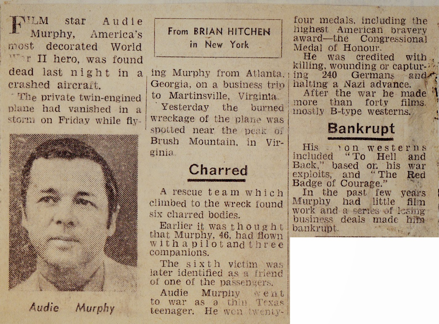 Hold The Front Page Cutting Audie Murphy Obituary 1971