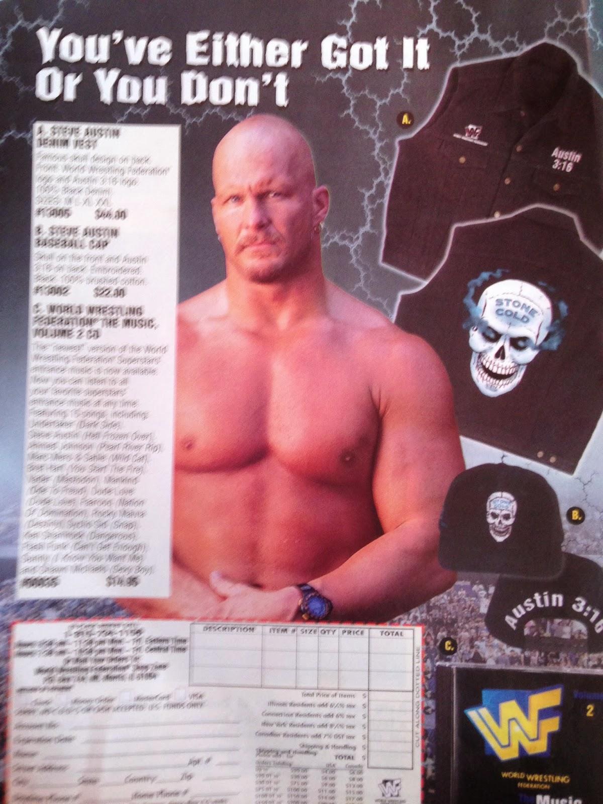 WWE: WWF RAW MAGAZINE - January 1998 - Steve Austin merchandise ad