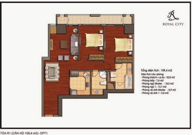 Chi tiết thiết kế căn hộ toà R1 chung cư Royal City diện tích 109.4 m2
