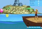 لعبة لوفي بطل ون بيس والتصويب على البالونات بواسطة المقلاع و الحجارة