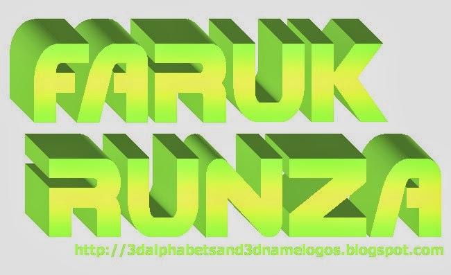 3d name logos faruk runza 3d
