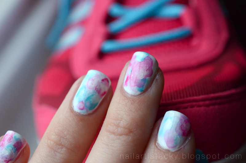Watercolor Nails - Nail Art - Pink & Blue