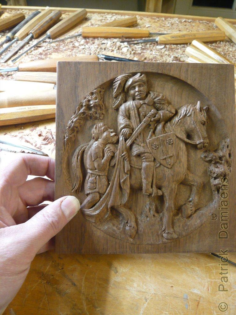 Formation Sculpture Sur Bois - Sculpture Ornementale PATRICK DAMIAENS Un BAS RELIEF de SAINT MARTIN de TOURS en BOIS SAINT