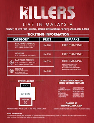 The Killers Live in Malaysia, malaysia concert, Brandon Flowers, Dave Keuning, Mark Stoermer and Ronnie Vannucci Jr