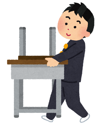机を運んでいる学生のイラスト