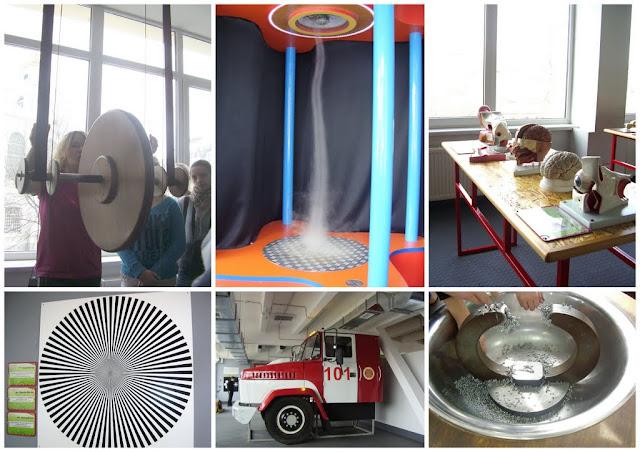 около трехсот интерактивных экспонатов и охватывает основные разделы физики, которые изучаются в школе: механика, молекулярная физика, электричество и магнетизм, оптика, акустика.