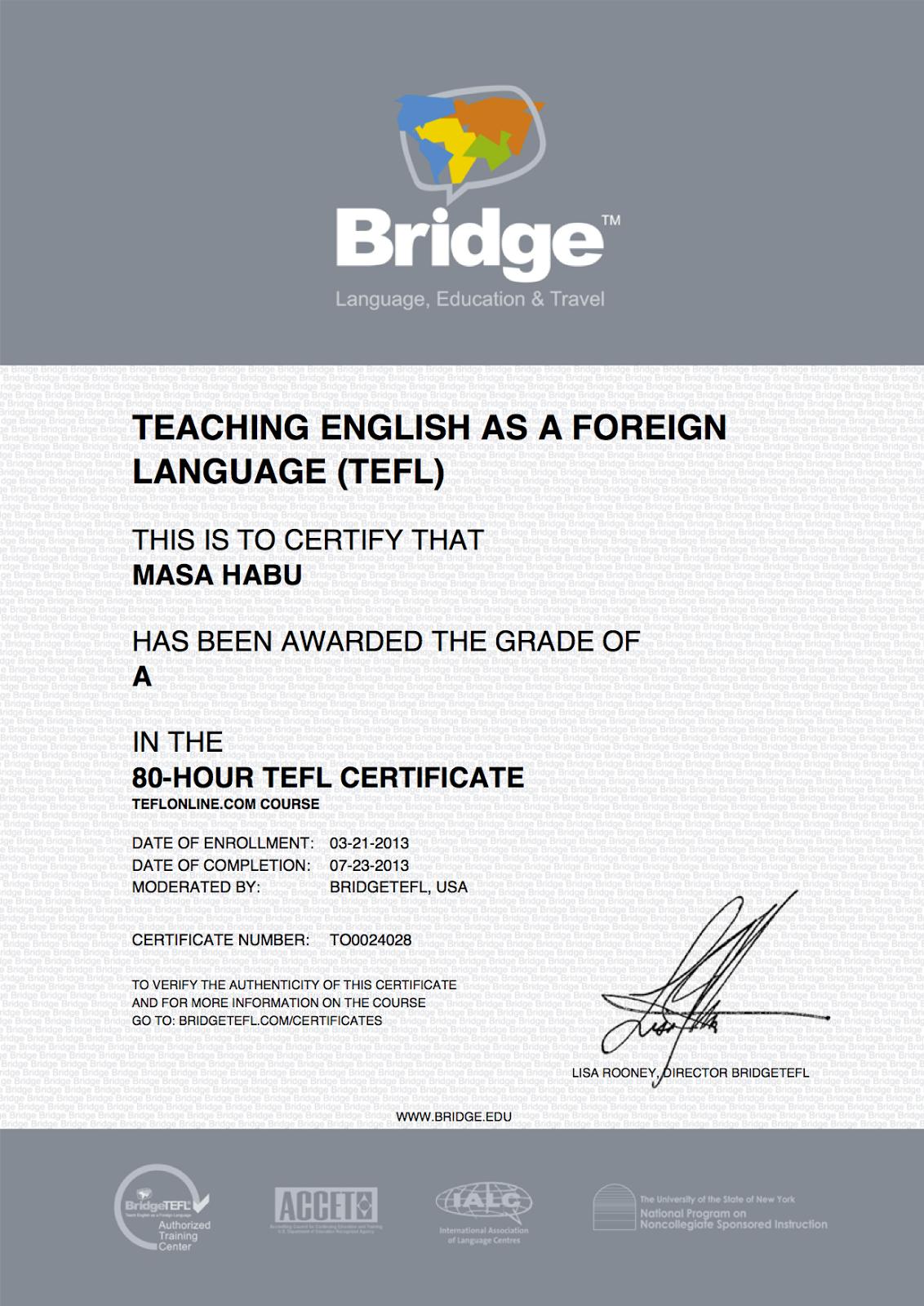 Masa's TEFL Educator Certificate