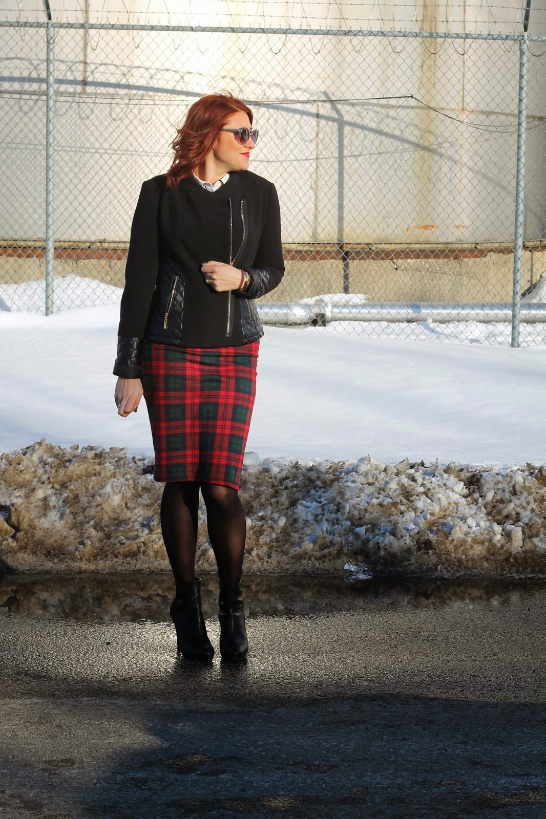 plaid, tube, skirt, topshop, quilted, black, leather