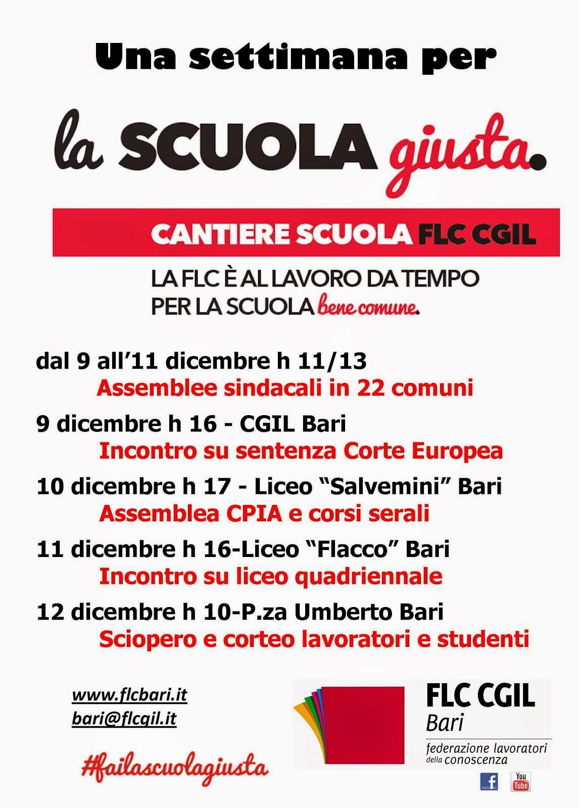 #failascuolagiusta a Bari dal 9 al 12 dicembre