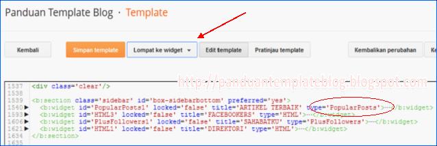 Menu Lompat ke Widget di Edit HTML