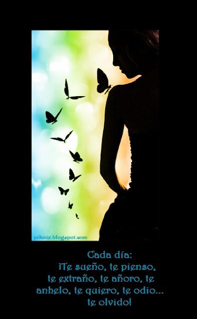 Cada día te extraño, silueta, mariposas,
