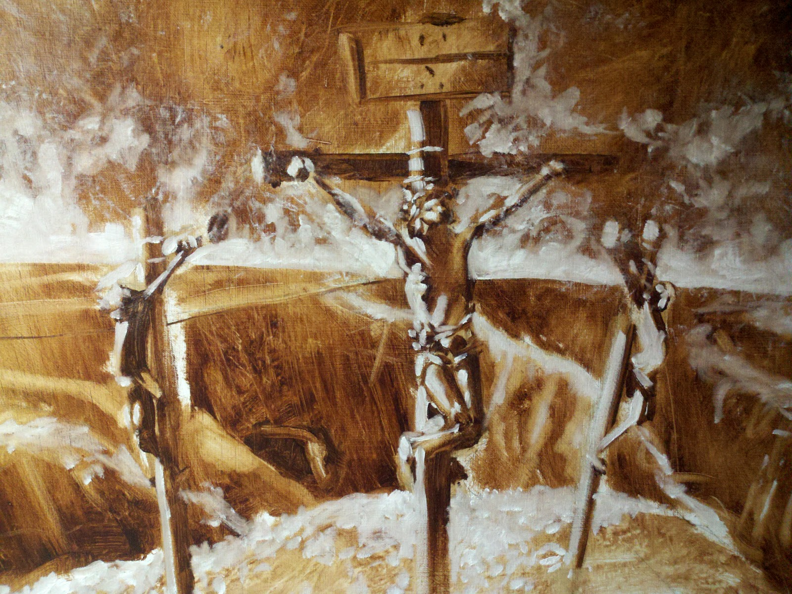 Crucifixion underpainting