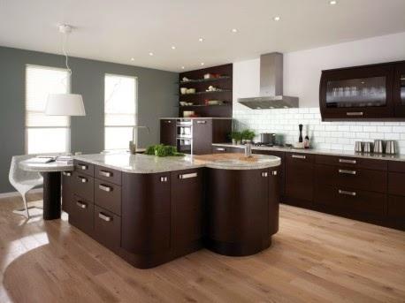 desain dapur warna coklat modern