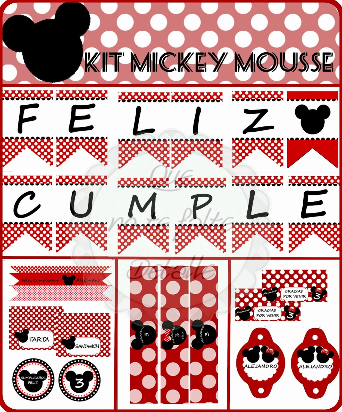 Diseño Kit Imprimible Cumpleaños Mickey Mousse