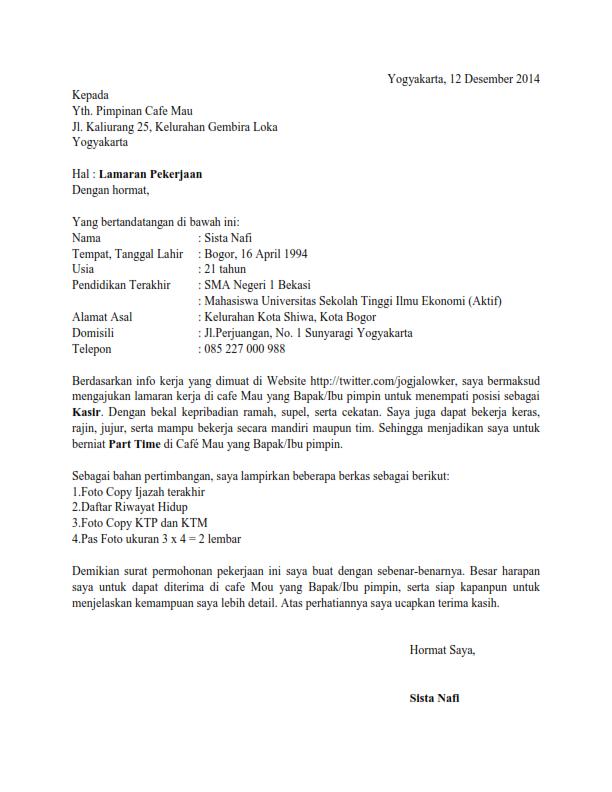 Surat Lamaran Kerja Kasir Ben Jobs