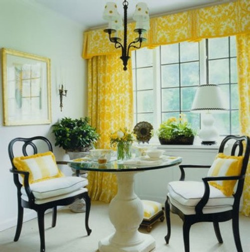 Yellow Damask Curtains Sybaritic Spaces Dining Rooms