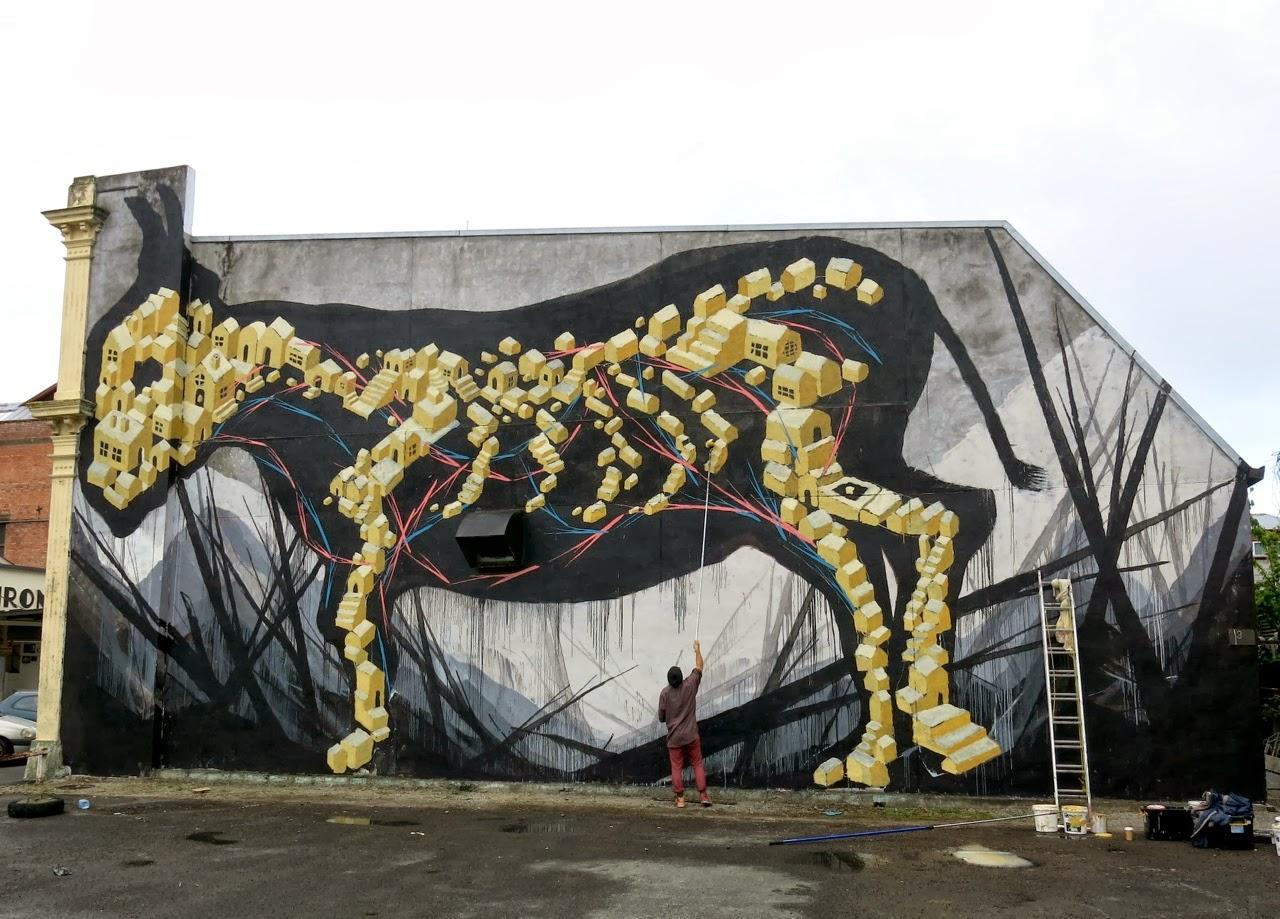 Shida x eno new street art murals new zealand for Mural street art