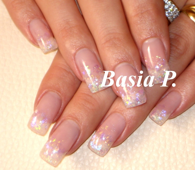 GLAMOUR NAILS GEL French Glitter Colour Swarovski Konad