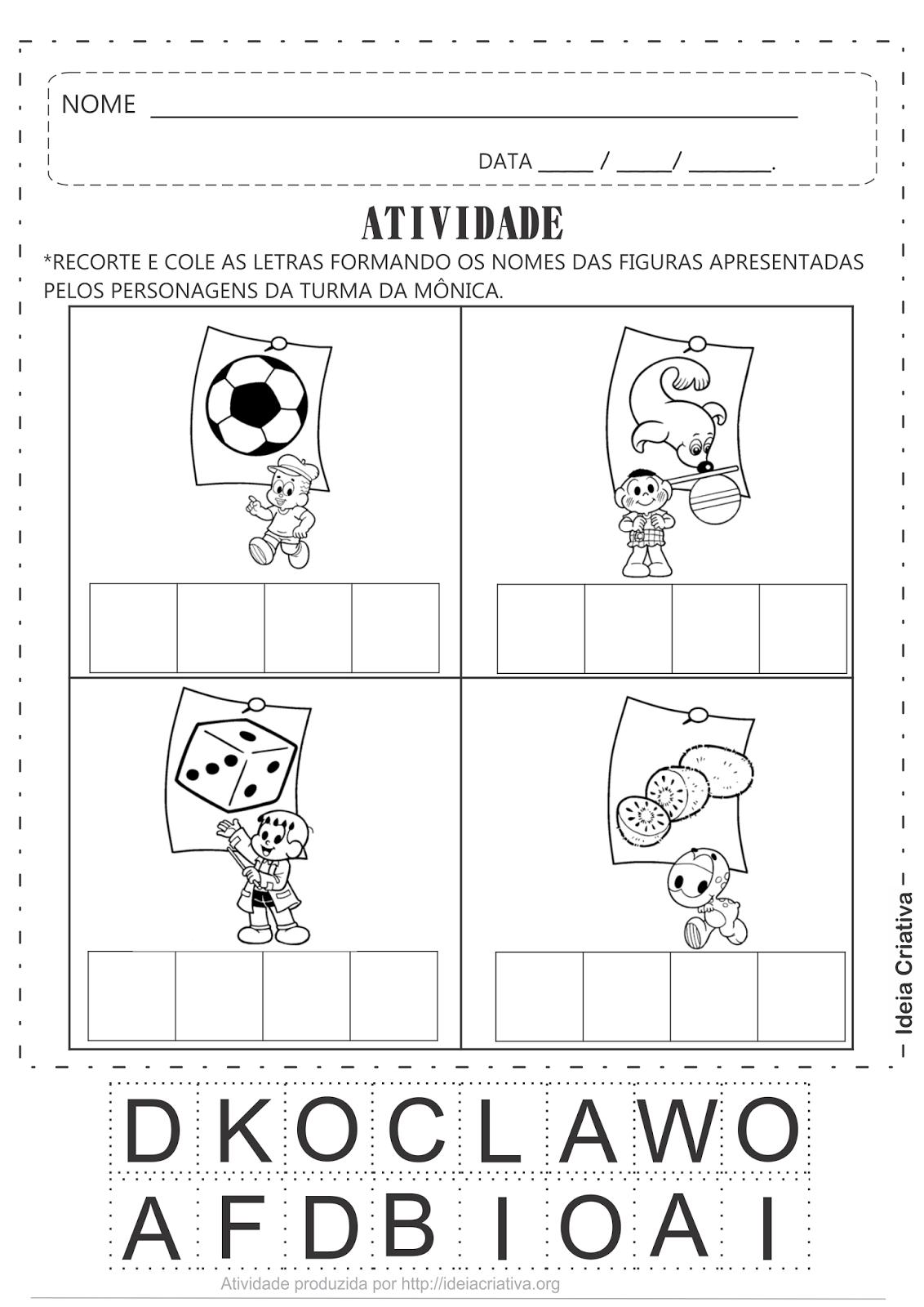 Atividade Corte e Recorte Palavras 4 letras Turma da Mônica