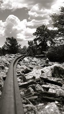 Rail on mine dump looking south