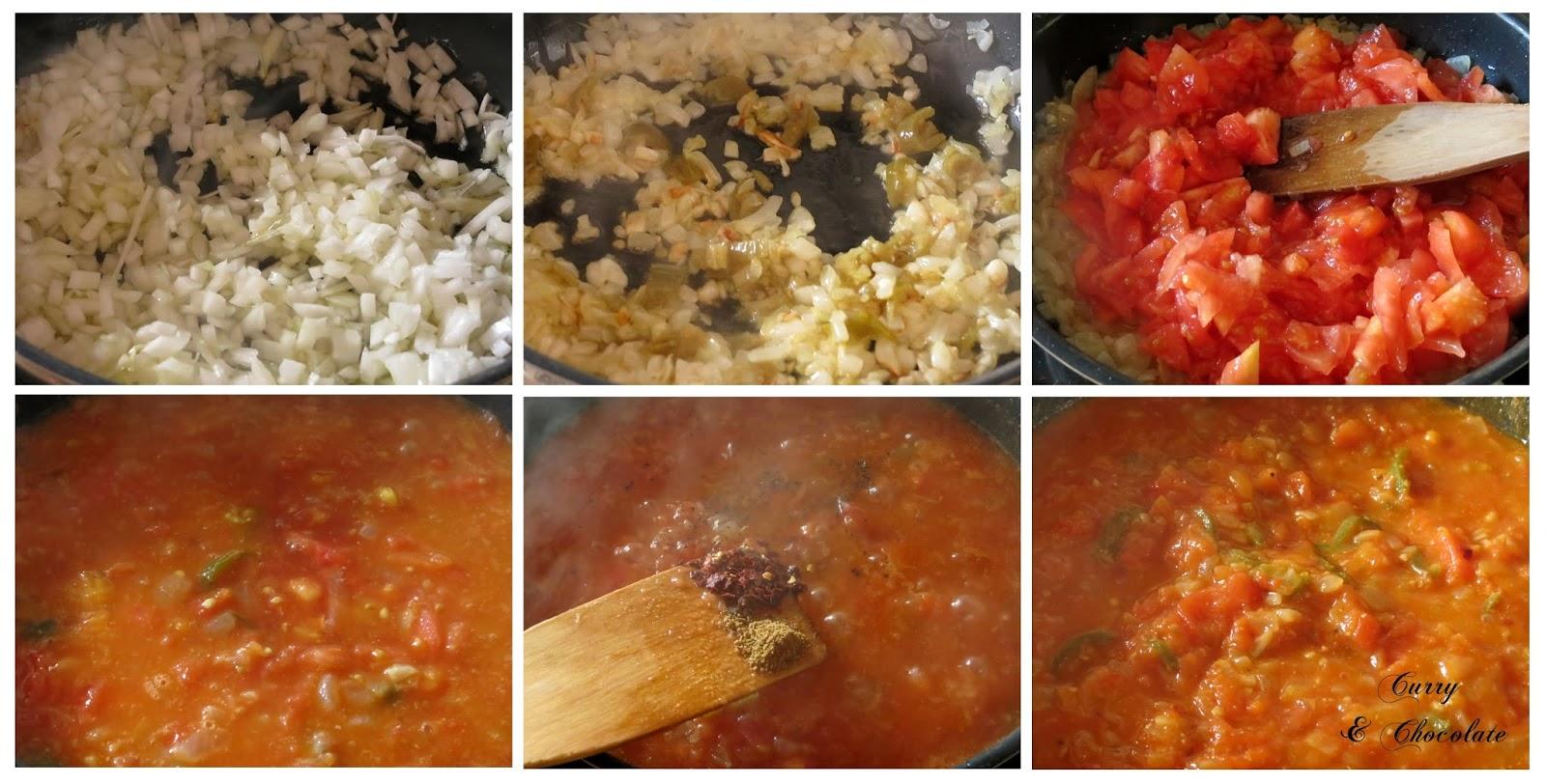 Preparando la salsa para enchiladas