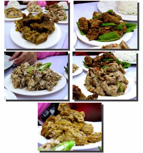 Vegan mock meat in Beef Caldereta, Beef Pares, Pork Sisig, Bicol Express and Chicharon Bituka flavors