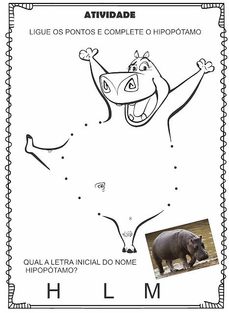 Atividade Liga Pontos Letra H Animal Hipopótamo