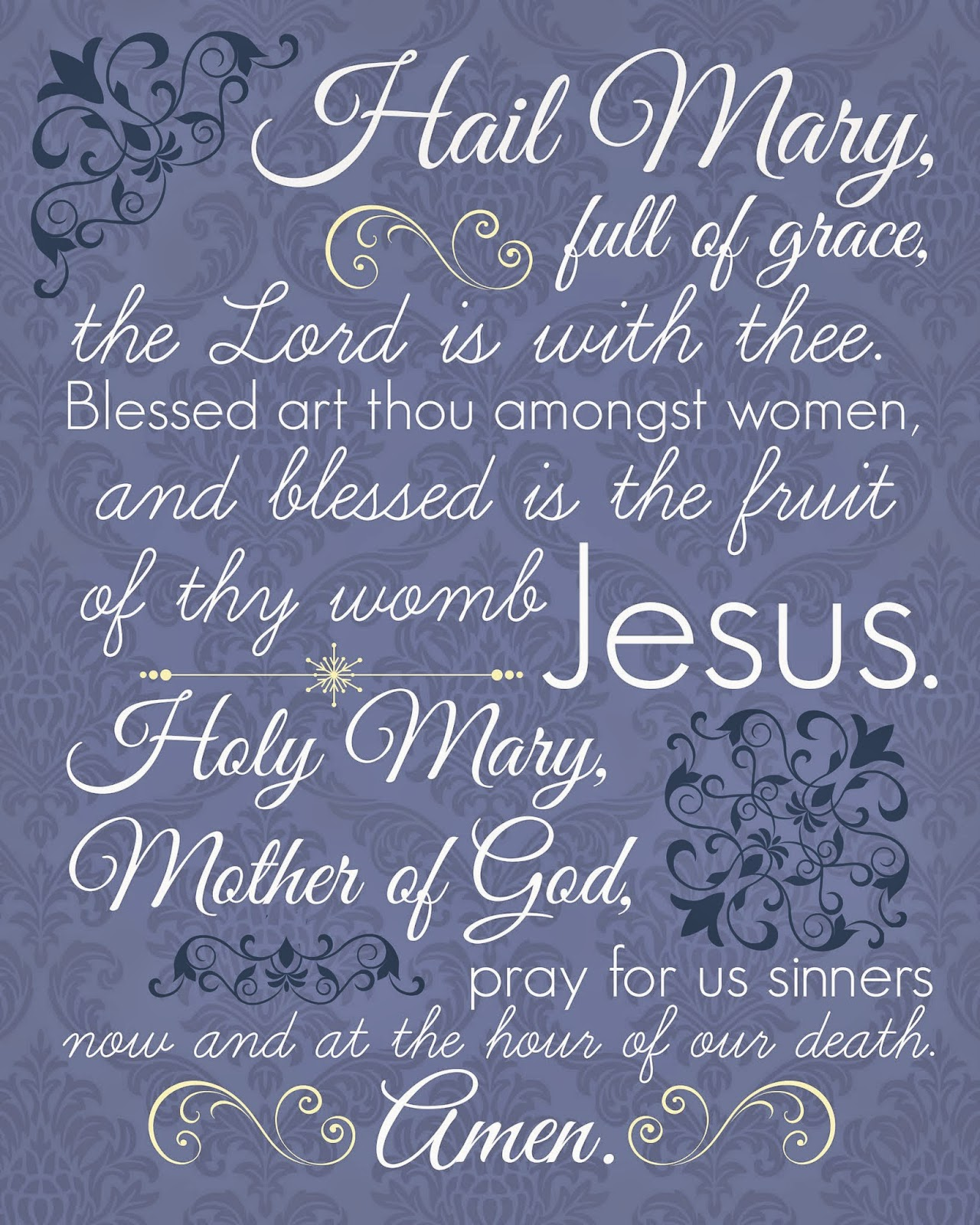 In which there are seven free printable prayers and so many other the hail mary in blue click here to download fandeluxe Gallery