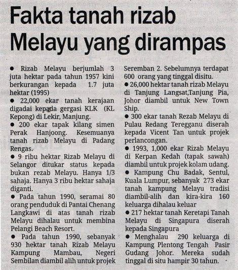 Tanah rizab Melayu yang dilupuskan oleh Umno